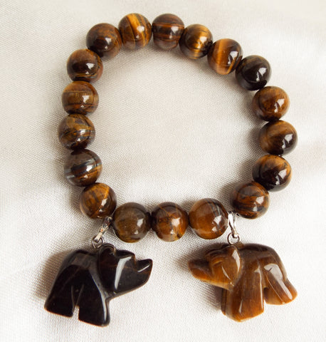 AAA 10mm Tiger's Eye Stretch Bracelet Gem Stone Bear Charms - OnTrendAndFab