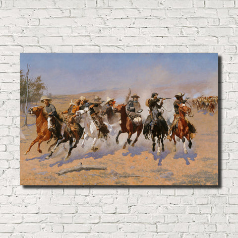 Frederic Remington, Old Masters Fine Art Print : Dash for the Timber