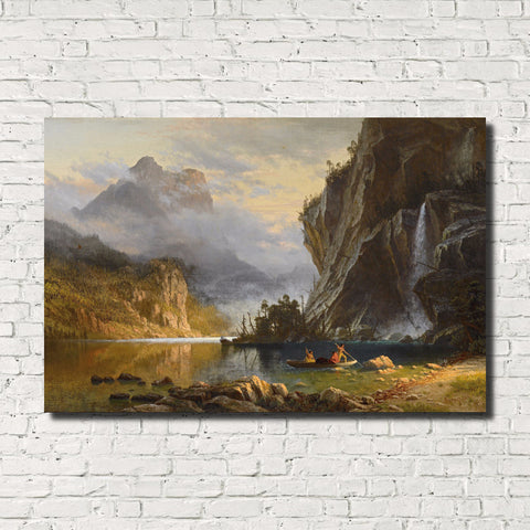 Albert Bierstadt, Old Masters Landscape Print : Spear Fishing