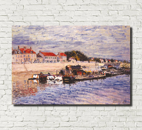 Alfred Sisley Fine Art Print Barges on the Loire Impressionist Painting