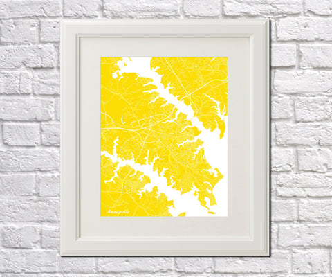 Annapolis City Street Map Print Feature Wall Art Poster