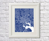 Baltimore City Street Map Print Feature Wall Art Poster