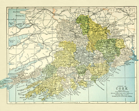 Baronies of Cork Map Print Vintage Ireland Poster Old Map as Art - OnTrendAndFab