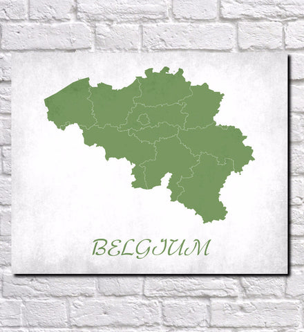 Belgium Map Print Outline Wall Map of Belgium