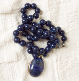 Blue Lapis Lazuli Necklace With Oval Pendant - OnTrendAndFab
