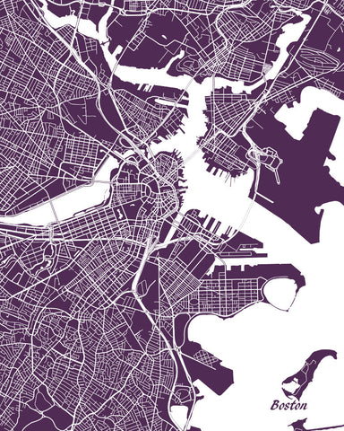 Boston City Street Map Print Custom Wall Map Poster Ontrendandfab