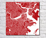 Boston City Street Map Poster Custom Wall Map Print - OnTrendAndFab