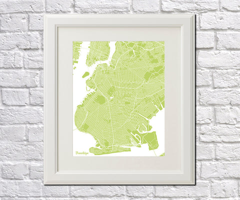 Brooklyn New York City Street Map Print Feature Wall Art Poster