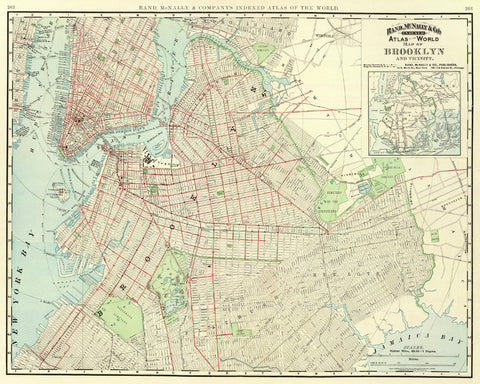 Old Map Of New York.Brooklyn Street Map Print Vintage New York Poster Old Map As Art