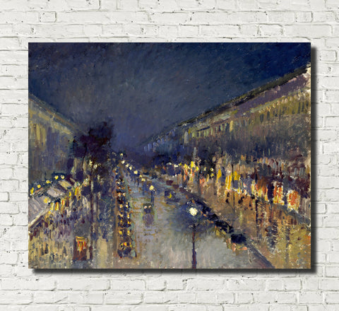 Camille Pissarro Fine Art Print The Boulevard Montmartre at Night Impressionist Painting