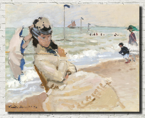 Claude Monet Fine Art Print, Camille on the Beach in Trouville