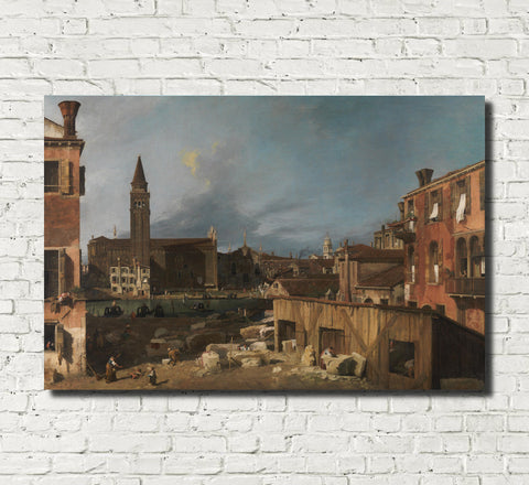 Canaletto, Landscape Print : The Stonemasons Yard