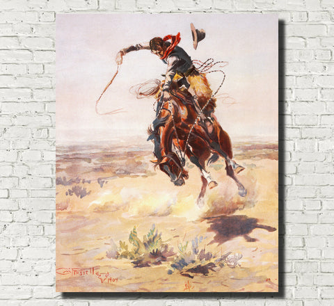 Charles Marion Russell, Fine Art Print : A Bad Hoss, Wild West Painting