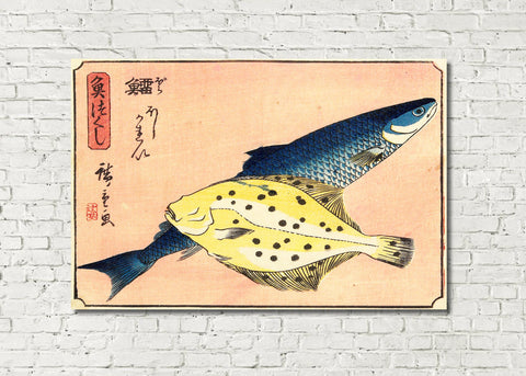 Fish Print Cod Halibut Andō Hiroshige, Japanese Art