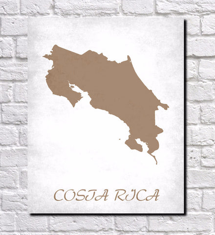 Costa Rica Map Print Outline Wall Map of Costa Rica