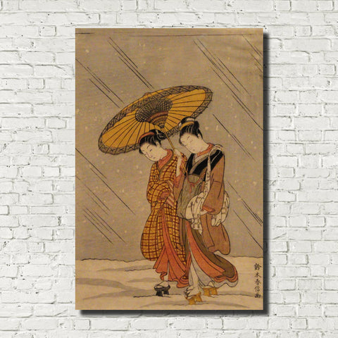 Suzuki Harunobu, Japanese Art Print : Couple in Snowstorm