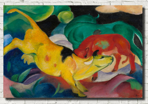 Franz Marc Abstract Fine Art Print, Cows, Yellow red green