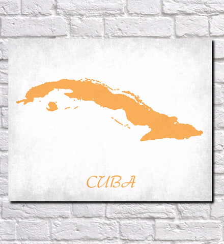 Cuba Map Print Outline Wall Map of Cuba