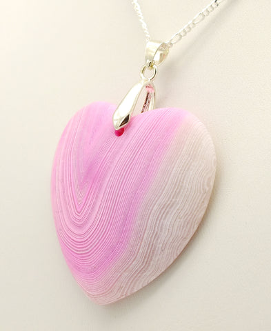Banded Pink Agate Heart Pendant Necklace & 20 inch 925 Silver Chain