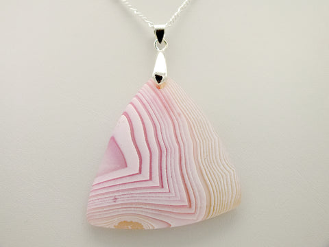 Banded Pink Agate Heart Pendant Necklace With 20 inch 925 Silver Chain
