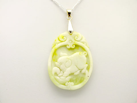 Carved Green Jade Pig Pendant Necklace, 20 inch 925 Silver Chain