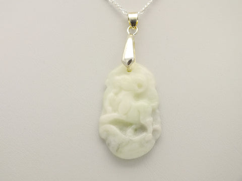 Carved Jade GoatPendant Necklace, 20 inch 925 Silver Chain