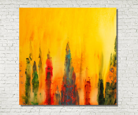 Original Painting James Lucas, Lost Spires Cityscape Abstract