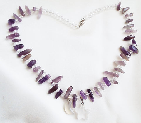 Amethyst Chip Necklace Faceted Rock Crystal Moon Star Pendants