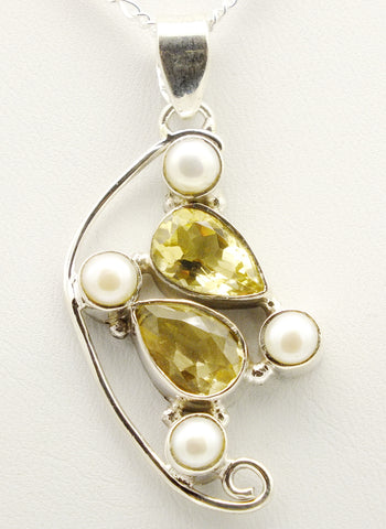 Citrine Pearl Sterling Silver Pendant Necklace