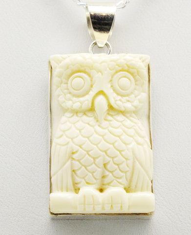 Carved Owl Pendant Sterling Silver Necklace