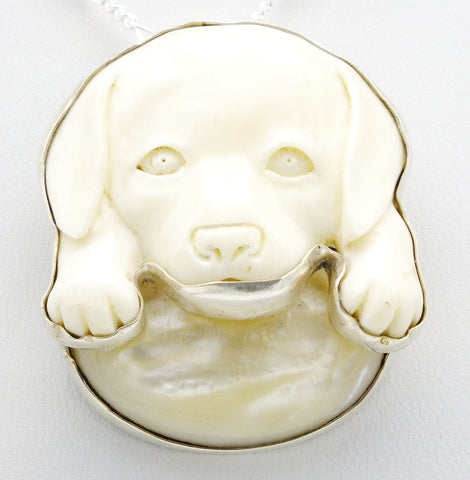 Carved Puppy Dog Pendant Sterling Silver Necklace
