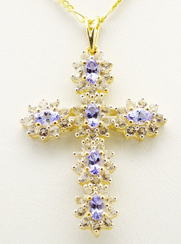 Blue Tanzanite White Topaz 9 carat Gold Cross Pendant Necklace