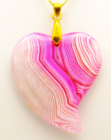 Banded Pink Agate Heart Pendant Necklace, 20 inch 9 ct Gold Chain