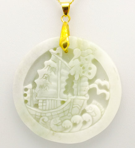 Carved Jade Boat Pendant Necklace, 20 inch 9 ct Gold Chain