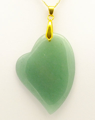 Aventurine Asymmetric Heart Pendant Necklace, 20 inch 9 ct Gold Chain