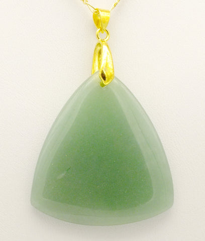 Aventurine Pendant Necklace, 20 inch 9 ct Gold Chain