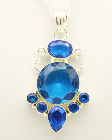 Blue Quartz Sterling Silver Pendant Necklace