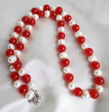 Baroque Natural Pearl Necklace With Red Jade Beads - OnTrendAndFab