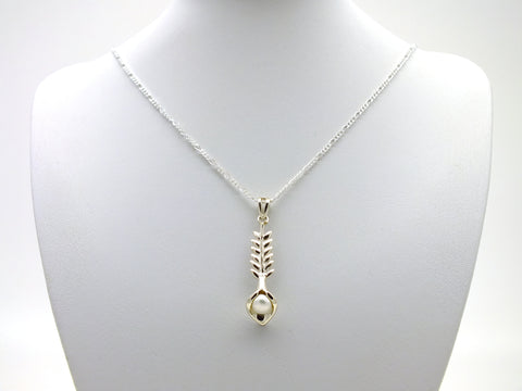 Natural Pearl Pendant Sterling Silver Necklace
