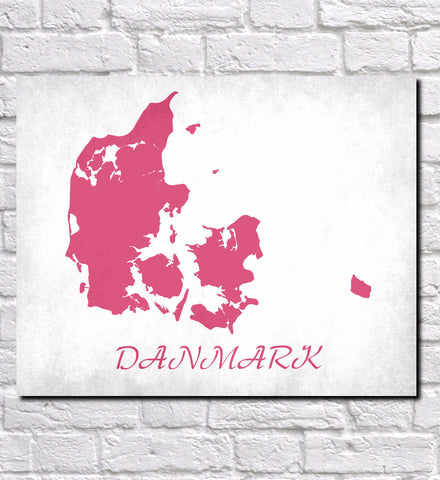 Danish Map Print Outline Wall Map of Denmark