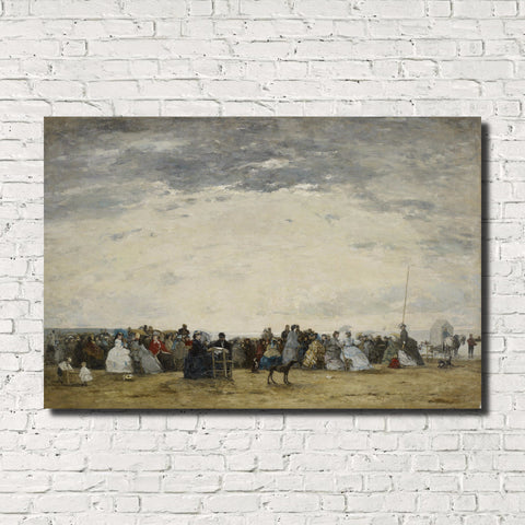 Eugène Boudin, Old Masters Fine Art Print : Vacationers, Trouville Beach