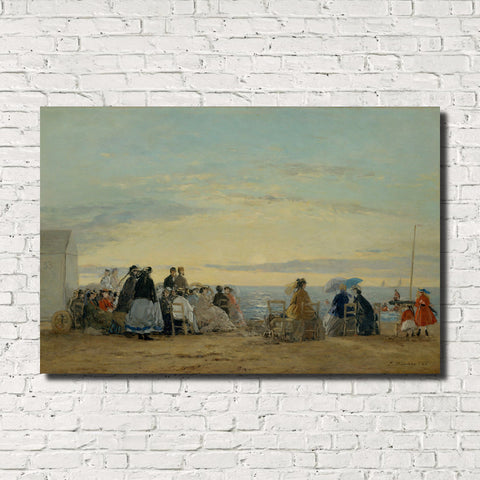 Eugène Boudin, Old Masters Fine Art Print : Sunset on the Beach
