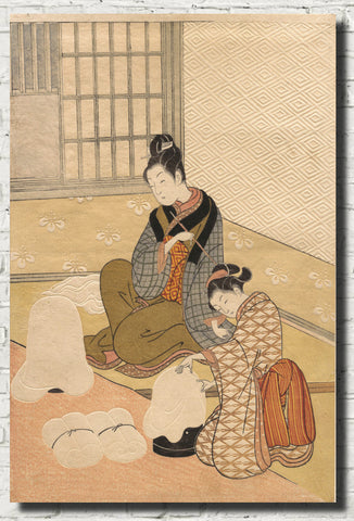 Suzuki Harunobu, Japanese Shunga Art Print : Evening Snow on the Heater