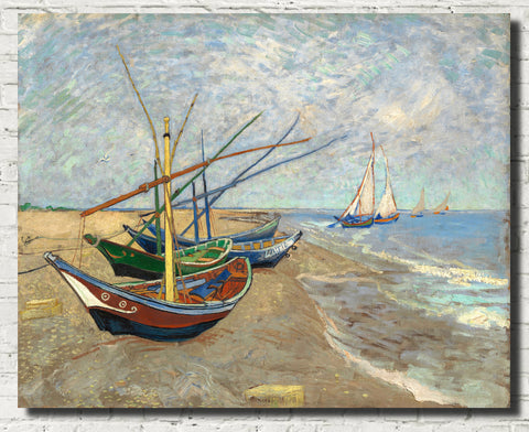 Vincent Van Gogh Fine Art Print, Fishing Boats on the Beach