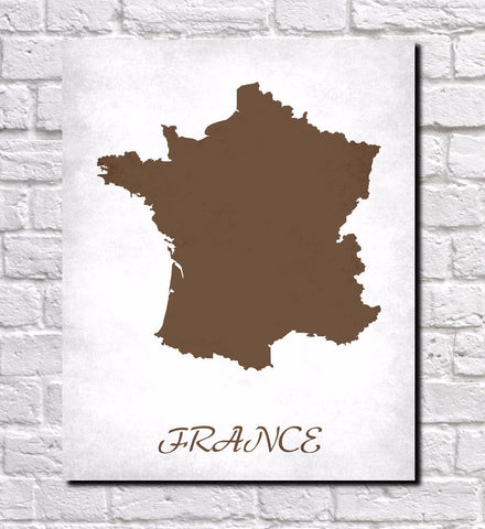 French Map Print Outline Wall Map of France