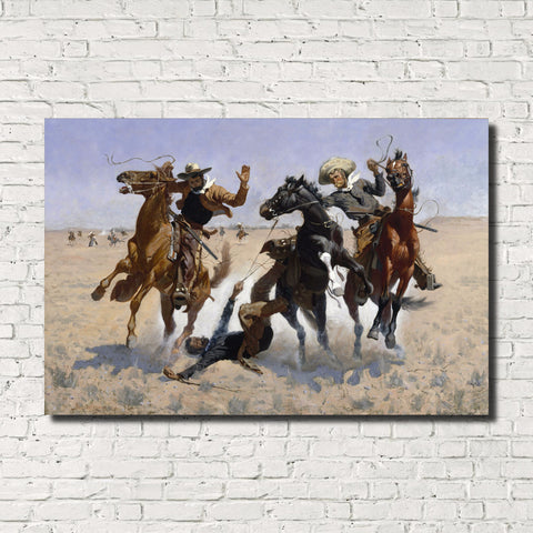 Frederic Remington, Old Masters Fine Art Print : Aiding A Comrade