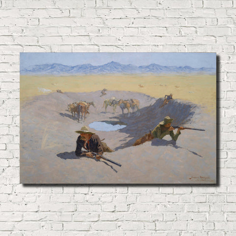 Frederic Remington, Old Masters Fine Art Print : Fight for the Waterhole