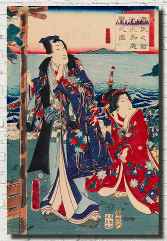 Toyohara Kunichika, Japanese Art Print : Genji Excursion to Enoshima Island