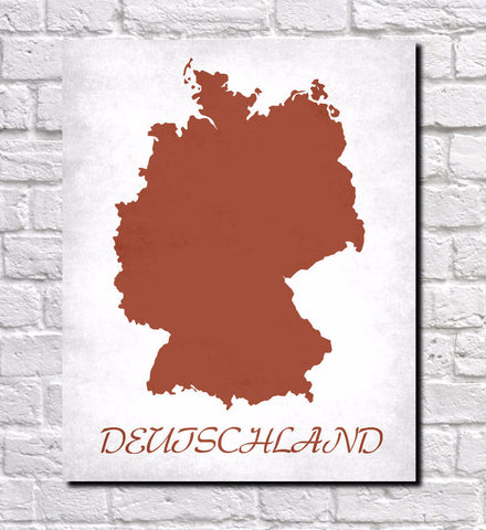 German Map Print Outline Wall Map of Germany