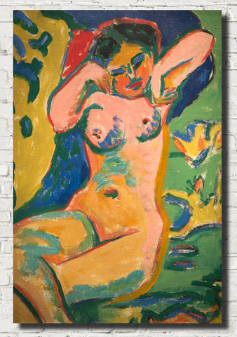 Ernst Ludwig Kirchner Expressionism Fine Art Print, Girl in a Flowering Meadow